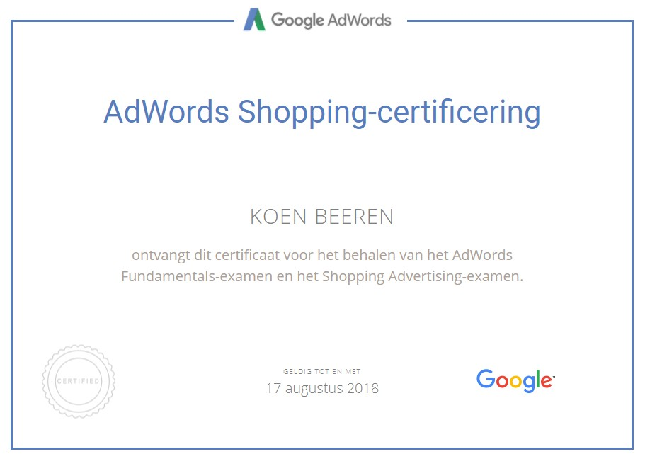 Google AdWords Qualified Individual - Online marketing Haarlem