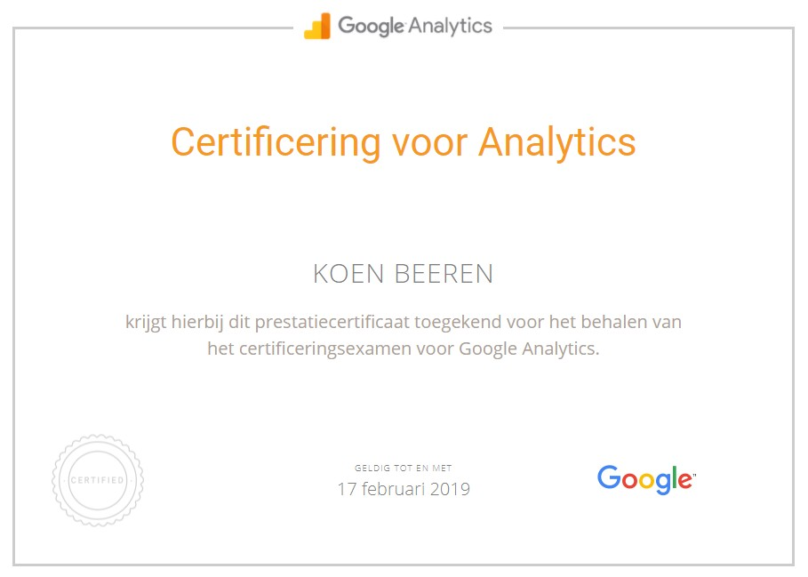 Google Analytics Qualified Individual - Online marketing Haarlem