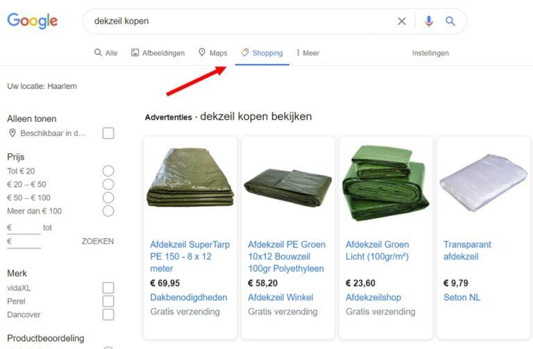 Google Shopping Tab(blad) Gratis Vermeldingen - SEA